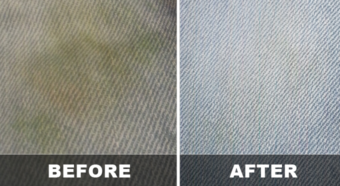grass stain jeans before and after