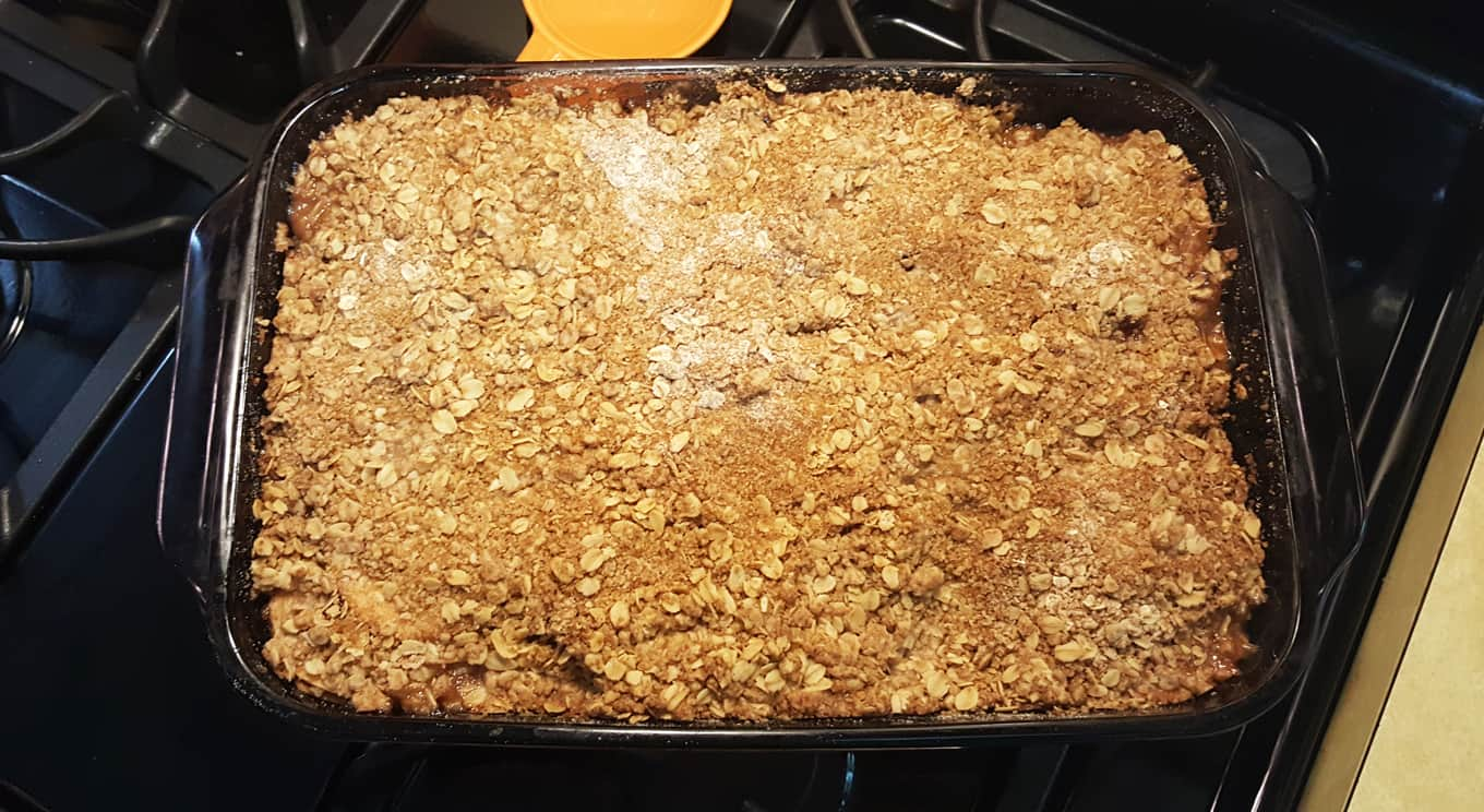 remove from oven when golden brown and bubbly   apple crisp recipe